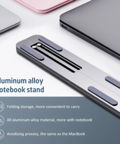 Laptop Stand Portable Heights Adjustable Aluminum AlloyDesktop Ventilated Cooling Holder Folding Ultra for MacBook 5 Portable Laptop Stand