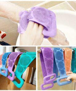 Magic Silicone Brushes Bath Towels Body Brush Bath Belt Exfoliating Back Brush Belt Wash Skin Household 4 Magic Silicone Shower Brush