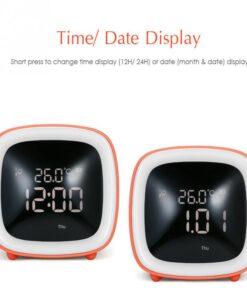 Temperature Night Light Alarm Clock Timing Table TV Shape Digital Adjustable Brightness Smart Snooze Function Cute 4 Cute TV Shaped Night Light