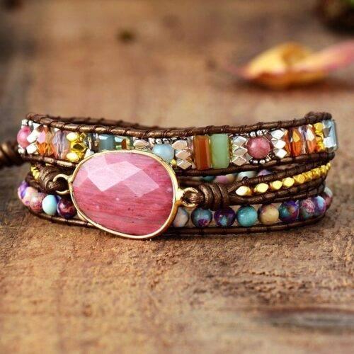 Multi Color Natural Stone Crystal Weaving Bracelet