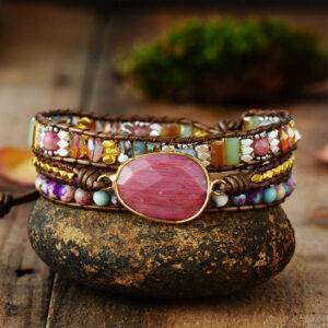 Multi Color Stones Natural Crystal Weaving Bracelet Gifts Gadkit