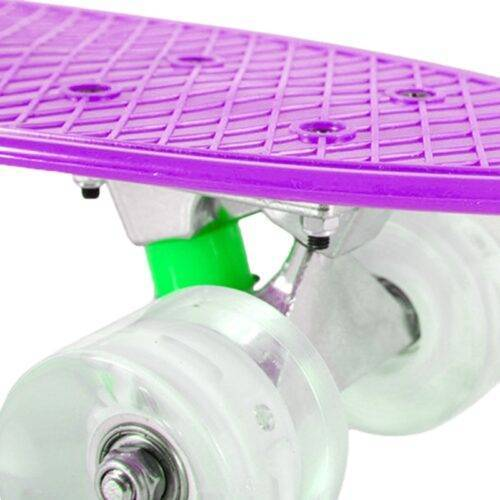 Purple Mini Cruiser Skateboard with Lights