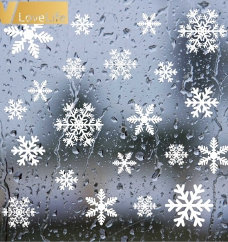 Christmas Frozen Snow Flakes Wall Sticker Set 27pcs