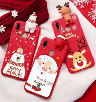 3D Christmas Ornaments Deer Bear Phone Cover