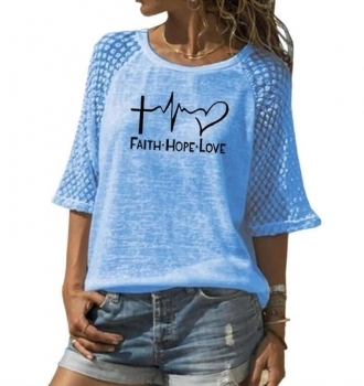 Faith Hope Love Letters Print T-Shirt For Women – 2020 New Design
