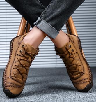 100% Leather – Men British Style Comfortable Walking Shoe