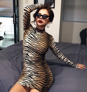 leopard long sleeve slim bodycon sexy dress